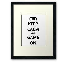 KEEP CALM and GAME ON (black) Framed Print