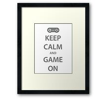 KEEP CALM and GAME ON (grey) Framed Print