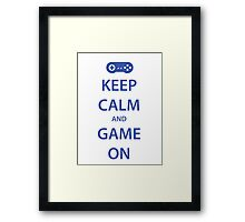 KEEP CALM and GAME ON (blue) Framed Print