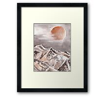 Blood Moon Eclipse and Mountain Landscape Framed Print