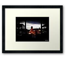 A street with two  cathedrals  Framed Print