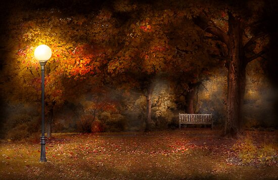 Autumn - A park bench  by Mike  Savad