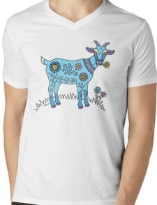 Blue Goat Mens V-Neck T-Shirt