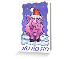 Pig Christmas Card Greeting Card