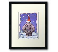 Hippopotamus Christmas Framed Print