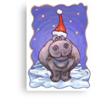 Hippopotamus Christmas Canvas Print