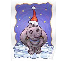 Hippopotamus Christmas Poster