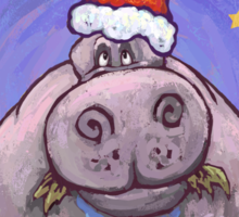 Hippopotamus Christmas Sticker