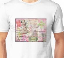 Romantic French Love Phrases and Words and Vintage Paris Themed Art Unisex T-Shirt