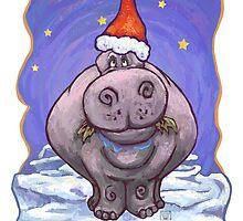 Hippopotamus Christmas Card by Traci VanWagoner