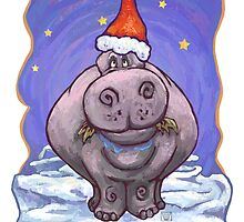 Hippopotamus Christmas Card by ImagineThatNYC