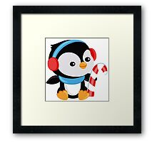 Christmas Penguin boy with candy Framed Print