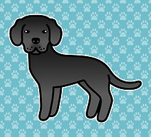 Black Labrador Retriever Cartoon Dog by destei