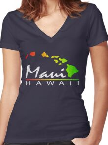 Maui - Hawaiian Islands (Vintage Distressed Look) Women's Fitted V-Neck T-Shirt