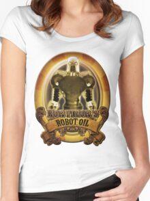 Mortimors Robot Oil. Women's Fitted Scoop T-Shirt