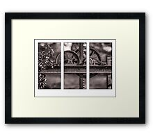 Triptych of old Irrigation gate Framed Print