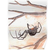 Black Widow Spider Watercolor Poster