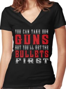 take our guns  Women's Fitted V-Neck T-Shirt