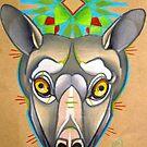 grey flying fox animal totem, spirit animal art by resonanteye