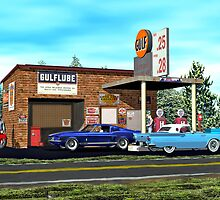 Old Gulf Gas station on route 66 by Walter Colvin