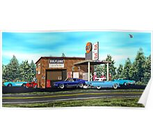 Old Gulf Gas station on route 66 Poster