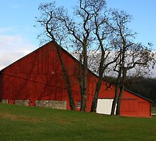 Red Barn - Fall Evening Waynesville Ohio by virtualdiablo