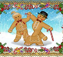 Christmas Gingerbread Trio with Candy Border by SpiceTree