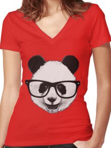 Hipster Panda Women's Fitted V-Neck T-Shirt