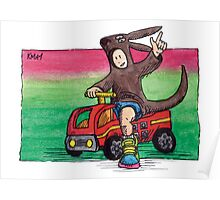 KMAY Hoodkid Kangaroo Fireman Poster