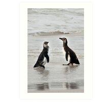 Magellanic Penguin Juveniles Art Print