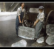 Girls Delivering Ice, 1918 by Dana Keller