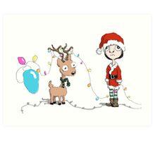 Holiday Girl and Reindeer Art Print