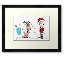 Holiday Girl and Reindeer Framed Print