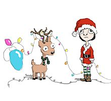 Holiday Girl and Reindeer Photographic Print