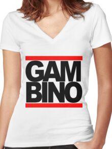 RUN GAMBINO Women's Fitted V-Neck T-Shirt