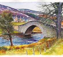 Gairnshiel Bridge on the River Gairn in Scotland by Dai Wynn