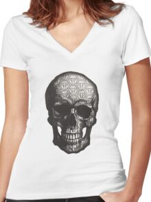 Famous Skull Women's Fitted V-Neck T-Shirt