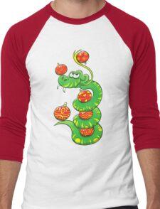 Green Snake Celebrating Christmas Men's Baseball ¾ T-Shirt
