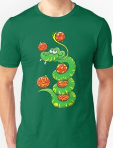 Green Snake Celebrating Christmas T-Shirt