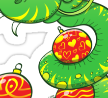 Green Snake Celebrating Christmas Sticker