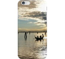 Gondola piercing a Burano, Italy sunset iPhone Case/Skin