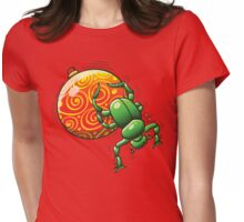 Beetle Pushing a Christmas Ball Womens Fitted T-Shirt