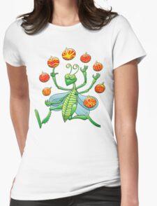 Green Grasshopper Juggling Christmas Balls Womens Fitted T-Shirt