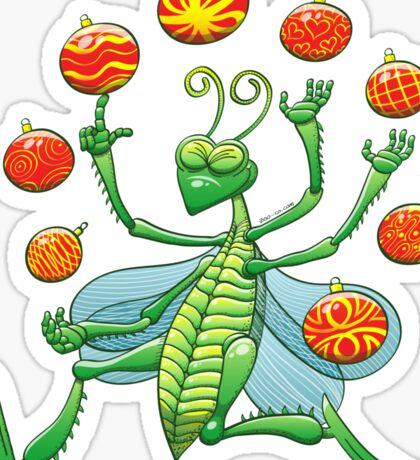 Green Grasshopper Juggling Christmas Balls Sticker