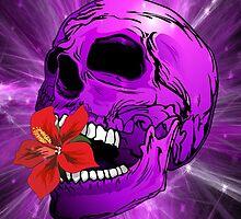Purple Sugar Skull with Hibiscus Flower by BluedarkArt