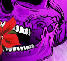 Purple Sugar Skull with Hibiscus Flower Sticker