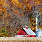 Autumn Red Barn and Hillside by Kenneth Keifer