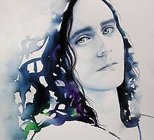 Loki Original Watercolour Painting Portrait Tom Hiddleston, the God of Mischief by KimberlyGodfrey