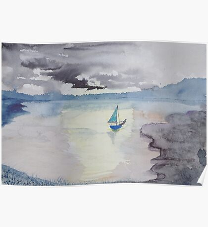 One man sail boat. Poster