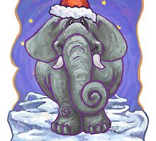 Elephant Christmas Card by Traci VanWagoner